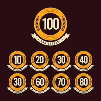 Illustration de conception de modèle de célébration d'anniversaire de 100 ans