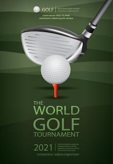 Illustration de conception de modèle de champion de golf affiche