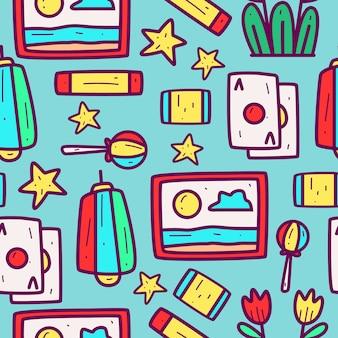 Illustration de conception de modèle de dessin animé doodle