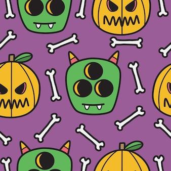 Illustration de conception de modèle de doodle halloween dessiné à la main