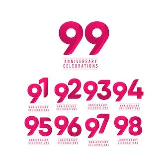 Illustration de conception de modèle de numéro de célébration d'anniversaire de 99 ans