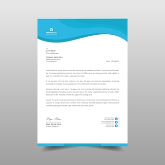 Illustration de conception de modèle de papier à en-tête business wave
