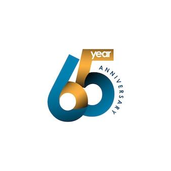 Illustration de conception de modèle de vecteur anniversaire 65 ans