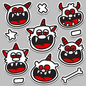 Illustration de conception de monstre mignon doodle