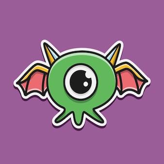 Illustration de conception de monstre de personnage de dessin animé doodle kawaii