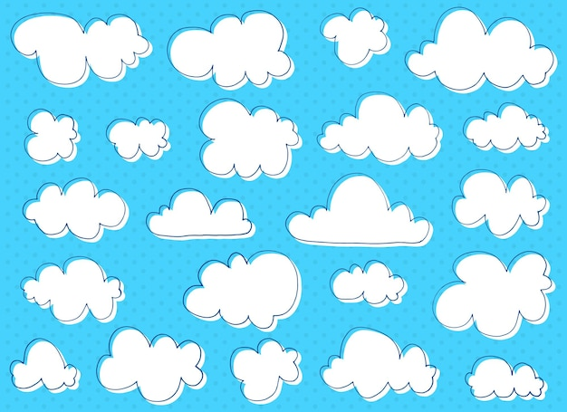 Illustration de conception de nuages dessinés à la main