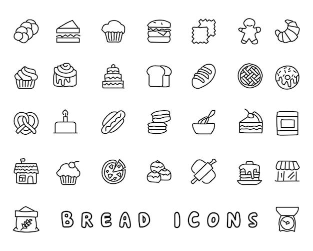 Illustration de conception de pain dessinés à la main icône