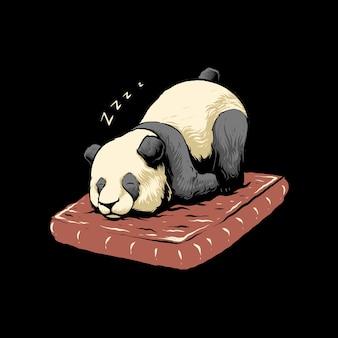 Illustration de la conception de panda de temps endormi