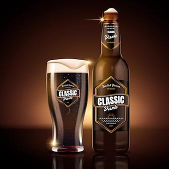Illustration de conception de paquet de bière brune classique