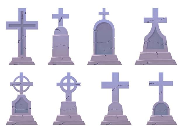 Illustration de conception de pierre tombale isolée sur fond blanc