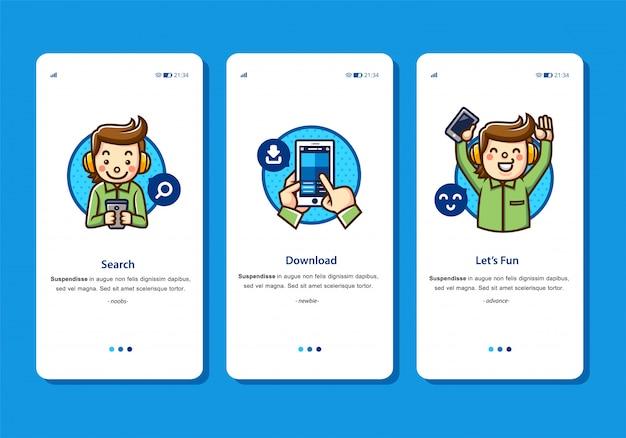 Illustration de conception plate du processus de téléchargement avec le téléchargement du personnage homme à partir du téléphone