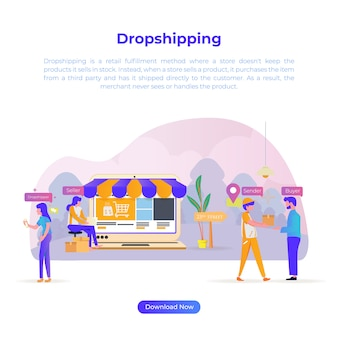 Illustration de la conception plate d'expédition de baisse pour les acheteurs en ligne ou le commerce électronique