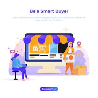 Illustration de conception plate pour être un acheteur futé pour le client en ligne ou le commerce électronique