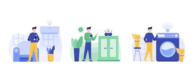 Illustration de conception plate smarthome avec caractère