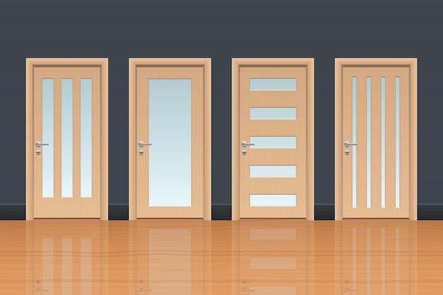 Illustration de conception de porte en bois réaliste