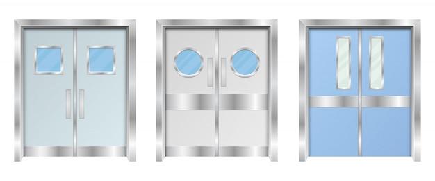 Illustration de conception de portes doubles d'hôpital isolé sur fond blanc