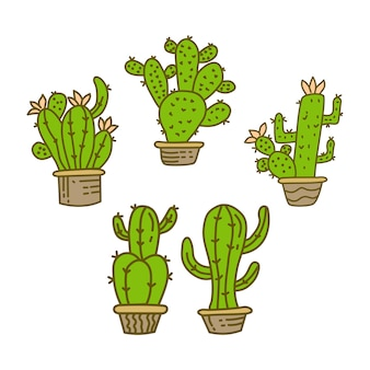 Illustration de conception de pot de cactus