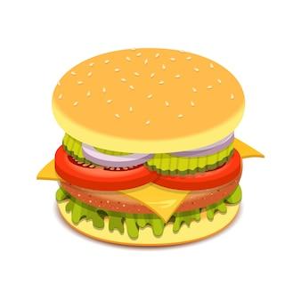 Illustration de conception de sandwich à hamburger réaliste isolé sur fond blanc