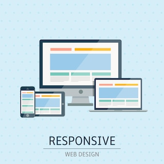 Illustration de conception de site web réactif concept plat sur fond bleu