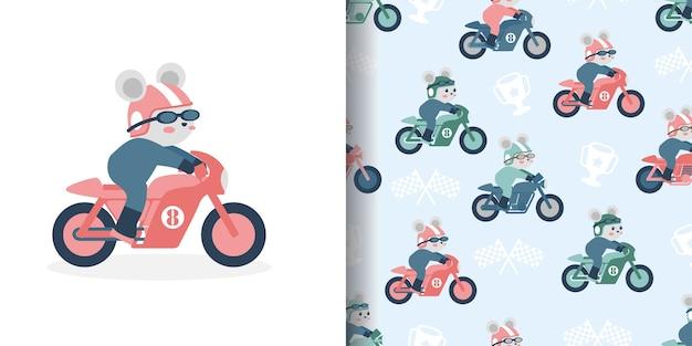 Illustration de conception de surface d'impression modèle sans couture de dessin animé de course de moto mignon