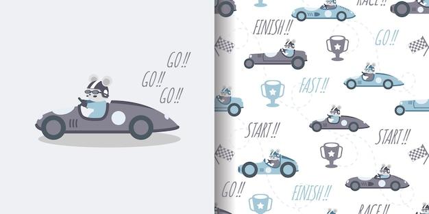 Illustration de conception de surface d'impression modèle sans couture de dessin animé de course de voiture mignonne