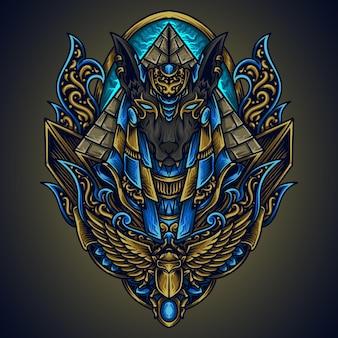 Illustration et conception de t-shirt anubis gravure ornement