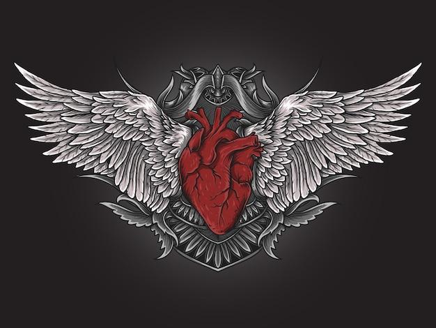 Illustration et conception de t-shirt ornement de gravure de coeur et aile d'ange