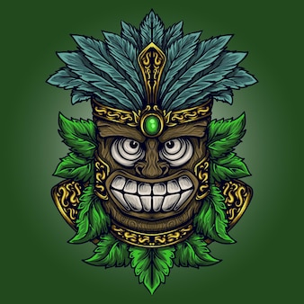 Illustration et conception de t-shirt totem tiki