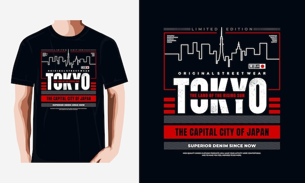 Illustration de conception de t-shirt de vecteur de typographie de tokyo vecteur premium