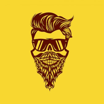 Illustration de conception de tête de barbe de crâne génial
