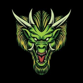 Illustration de la conception de la tête de dragon vert