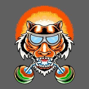 Illustration De Conception De Tête De Tigre été Thsirt Vecteur Premium