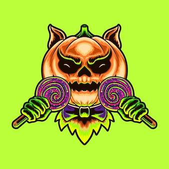 Illustration de conception de tshirt monster candy citrouilles