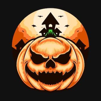 Illustration de conception de tshirt de personnage de monstre de citrouille