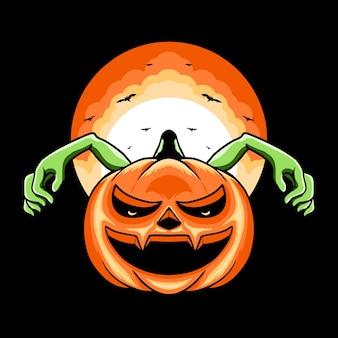 Illustration de conception de tshirt de personnage de tête de monstre de citrouille