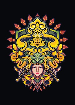 Illustration de conception de tshirt samouraï fille dragon