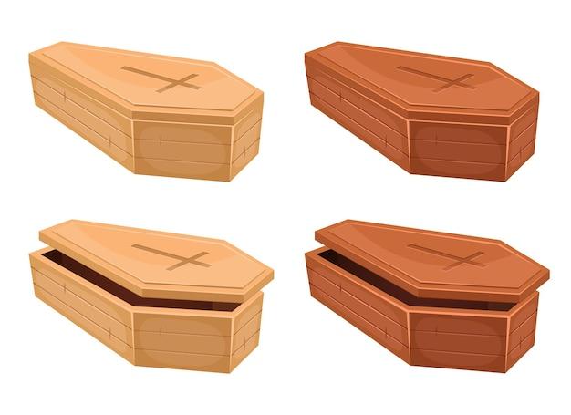 Illustration de conception de vecteur de cercueil en bois isolé sur fond blanc