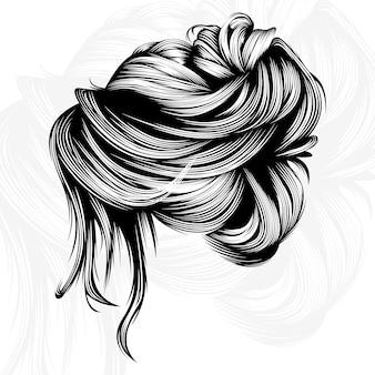 Illustration de conception de vecteur de cheveux de beauté