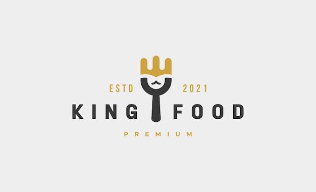 Illustration de conception de vecteur de logo de fourchette de nourriture de roi