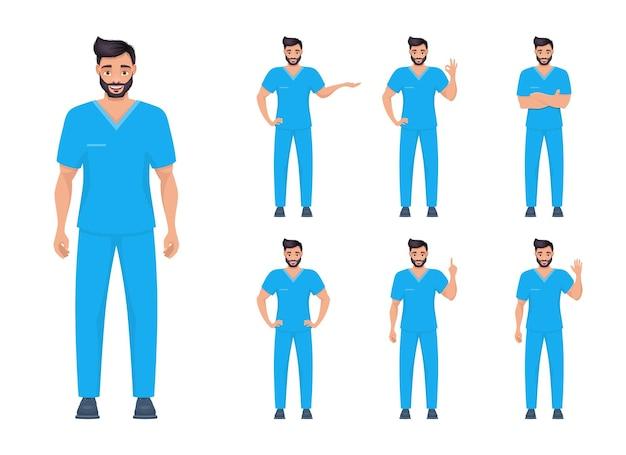 Illustration de conception de vecteur medic homme isolé sur fond blanc