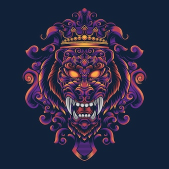 Illustration de conception de vecteur d'ornement de lion pour t-shirt
