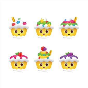 Illustration de conception de vecteur de personnage de gâteau mignon
