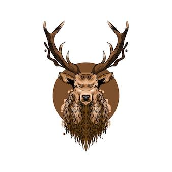 Illustration de conception de vecteur de tête de cerf