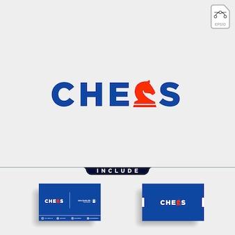 Illustration de conception de vecteur de type logo d'échecs, logo de typographie pour les échecs avec carte de visite inclus- vecteur