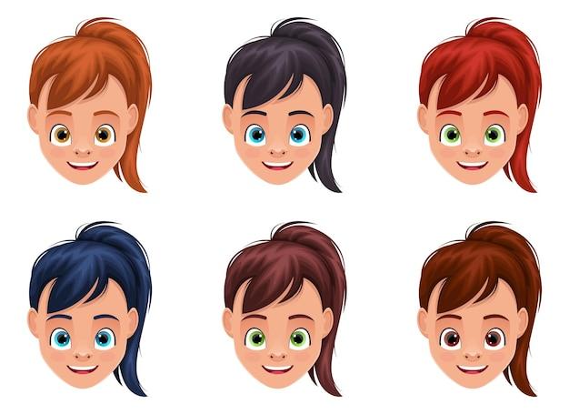 Illustration de conception de visage de petite fille isolée
