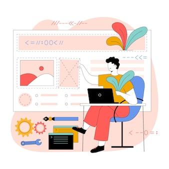 Illustration de conception web plat organique