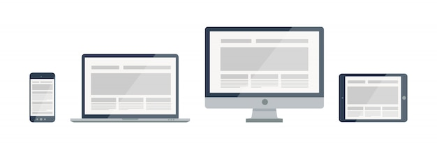 Illustration de conception web sensible de silhouette. icônes et combinaisons d'appareils électroniques modernes.