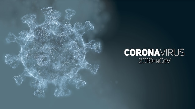 Illustration conceptuelle de coronavirus. forme de virus 3d sur un fond abstrait. visualisation des agents pathogènes.