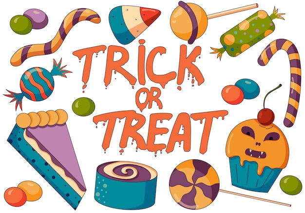 Illustration conceptuelle du mélange de bonbons trick or treat fête d'halloween avec des bonbons effrayants dans un style plat