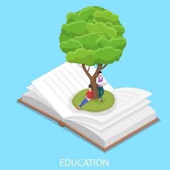 Illustration conceptuelle de l'éducation en ligne vecteur plat isométrique.